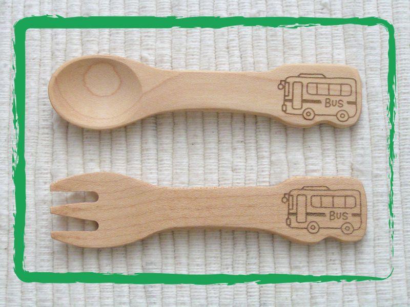 画像1: のりもの◆バス スプーン&フォーク